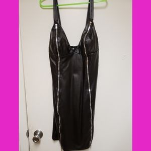 Sexy Faux Leather Zippered Mini Dress